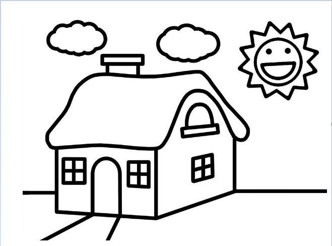 Hình tô màu ngôi nhà và ông mặt trời