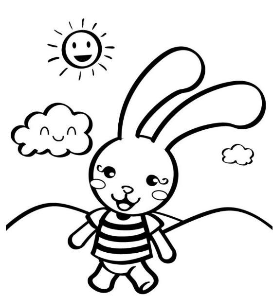 Hình tô màu thỏ con đi học