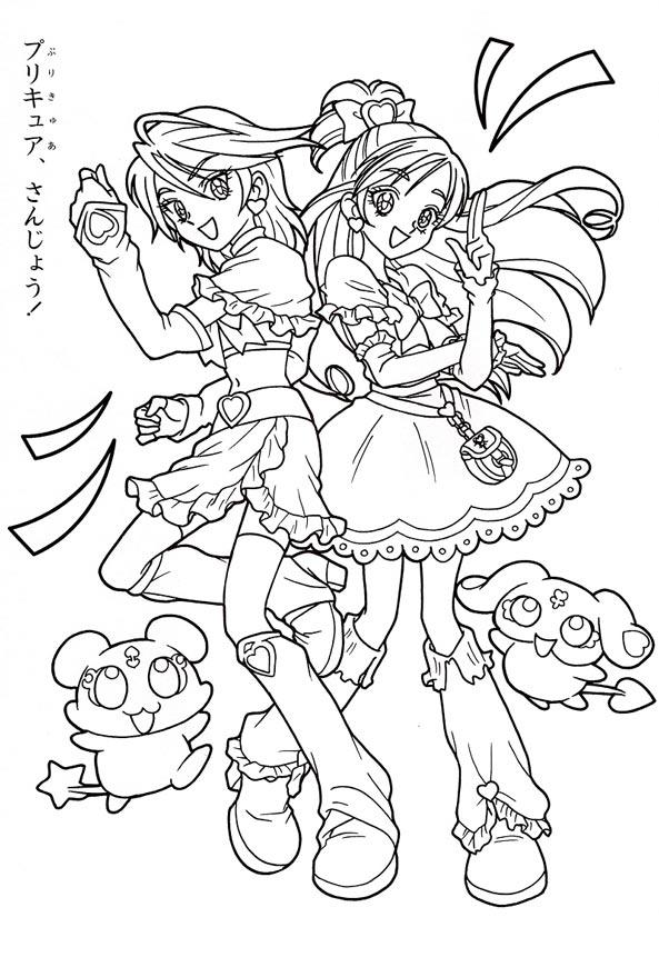Hình công chúa Anime cho bé tô màu