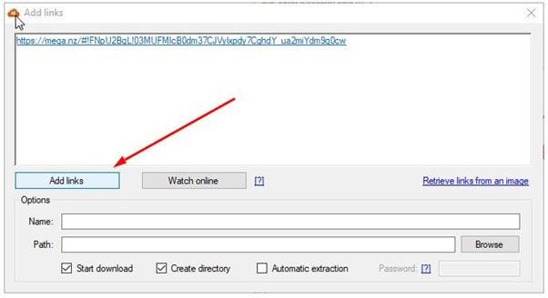 """Sau khi cửa sổ mới mở ra, bạn chọn """"Add Links"""" và dán link mega cần get vào và chờ thời gian để get link"""