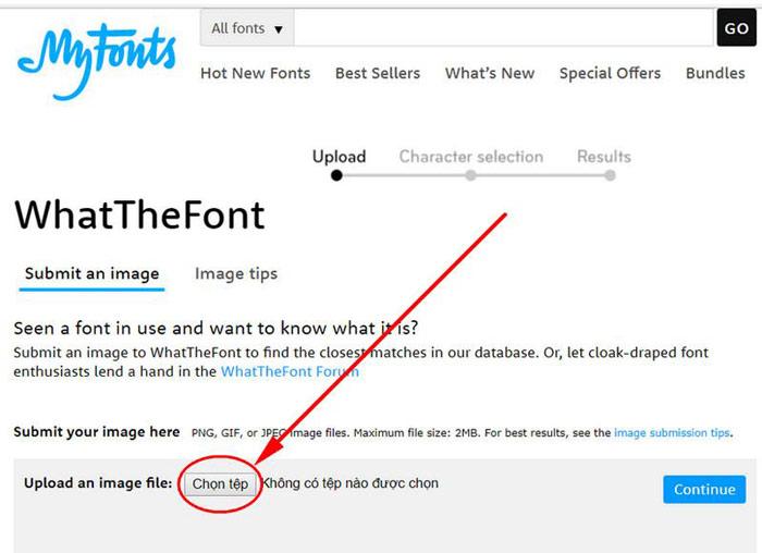 Tìm font chữ bằng hình ảnh online với What The Font