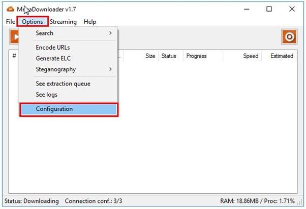 """Tại giao diện chính của MegaDownloader, bạn chọn """" Options"""" rồi chọn """"Configuration"""" để bật chế độ getlink max speed"""