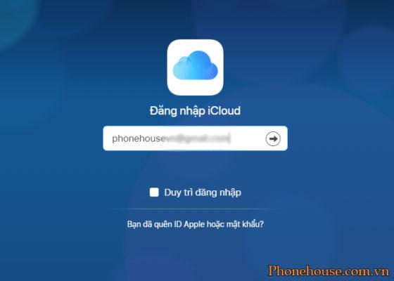 Truy cập địa chỉ iCloud Apple và đăng nhập tài khoản iCloud