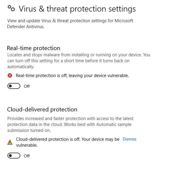 cần vô hiệu hóa tạm thời Antivirus và Windows Defender