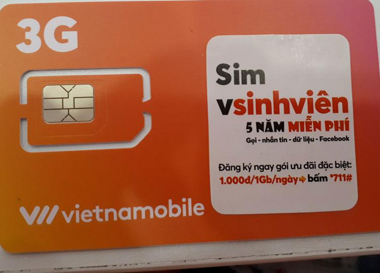 3G Vietnamobile với sim sinh viên