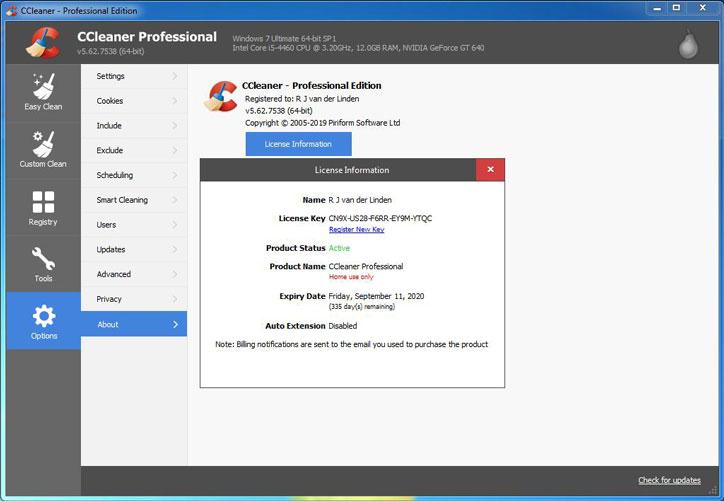 Các bước để cài đặt phần mềm Key CCleaner Pro