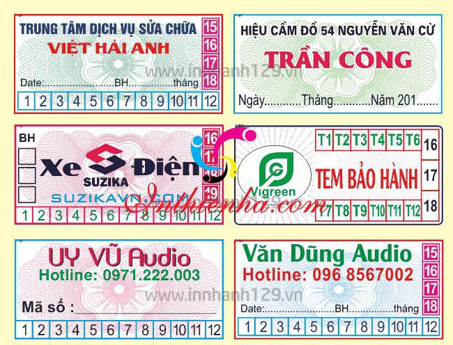 mẫu tem bảo hành đep in nhiều