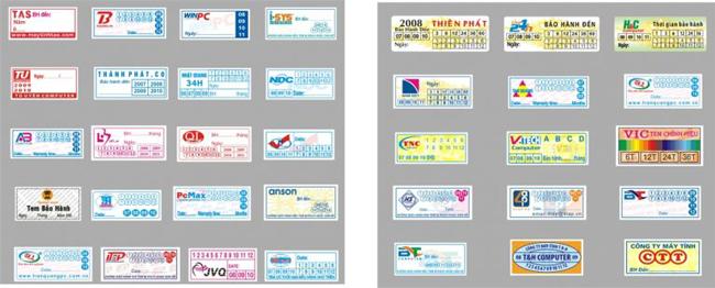 mẫu tem bảo hành thiết kế theo yêu cầu