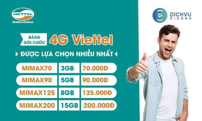 Các gói cước 4G Viettel được lựa chọn và sử dụng nhiều nhất