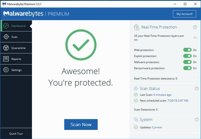 Các tính năng của Malwarebytes Premium