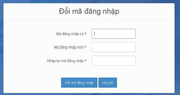 Đổi lại mã đăng nhập sau khi đã vào tài khoản lần đầu tiên