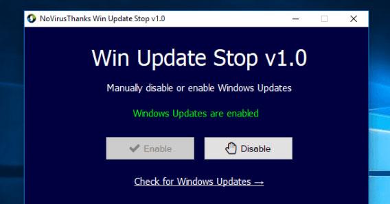 Hướng dẫn sử dụng phần mềm Stop Update 10 để tắt update Win 10