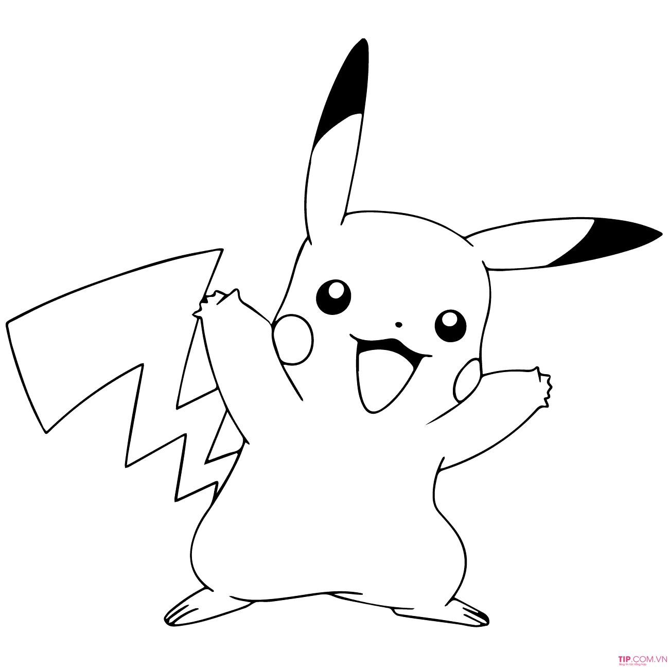 Tranh tô màu Pokemon phấn khích