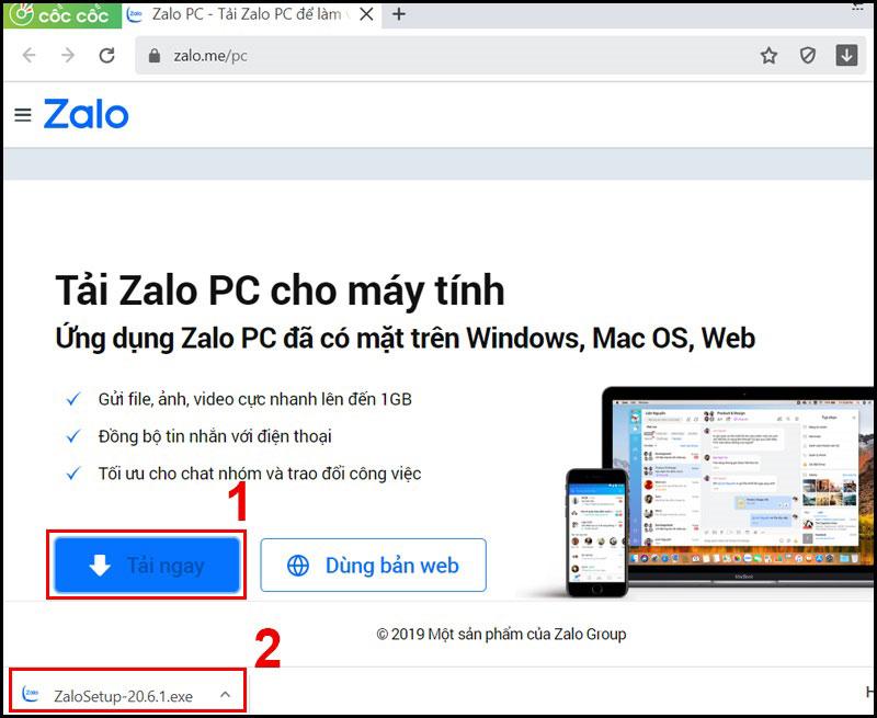 Chọn link Zalo PC và chọn Tải ngay