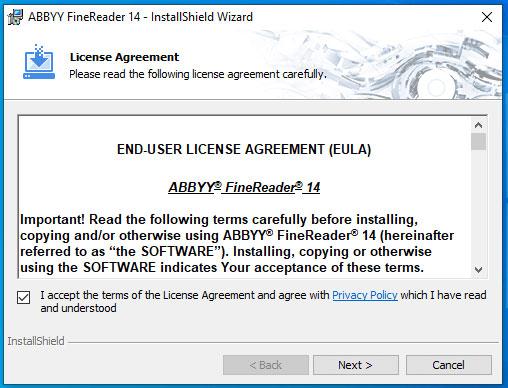 """Bấm """"Next"""" để tiếp tục quá trình cài đặt Abbyy FineReader 14 full crack"""