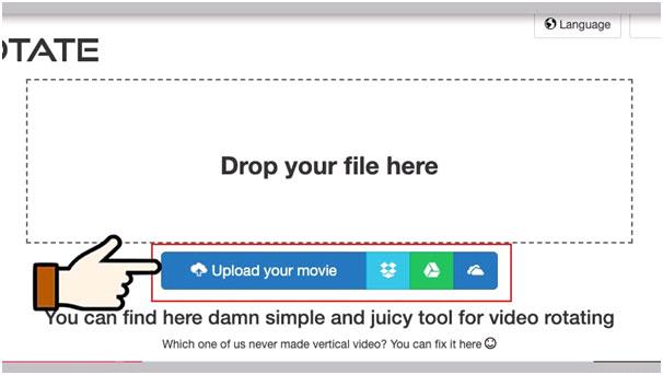 Bấm vào biểu tượng để upload video cần xoay