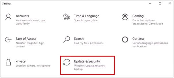 Chọn Update và Security.