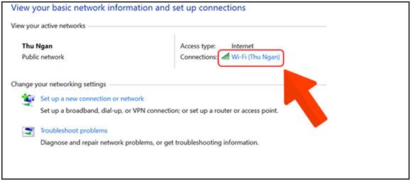 Chọn wifi đang kết nối.