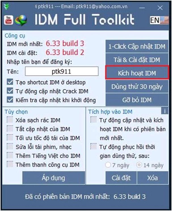 Kích hoạt ứng dụng IDM
