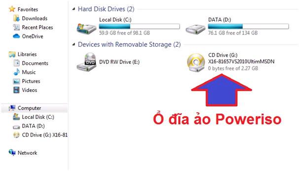 Ổ đĩa ảo sau khi Mount file ISO