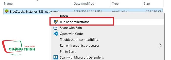 Chạy cài đặt phần mềm