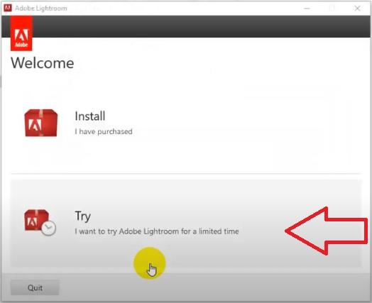 """Nhấn chọn """"Try"""" để tiếp tục cài đặt phần mềm"""
