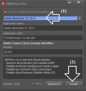 Chọn Adobe Illustrator CC 2017 và chọn Instal