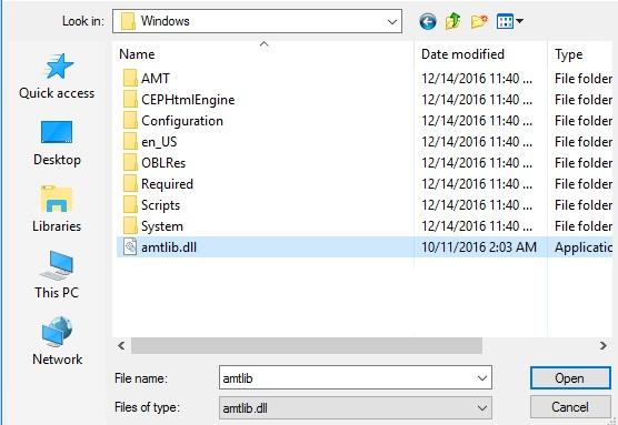 Chọn file amtlib.dll như hình dưới và chọn Open