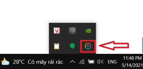 Biểu tượng của Ace Stream trên thanh công cụ