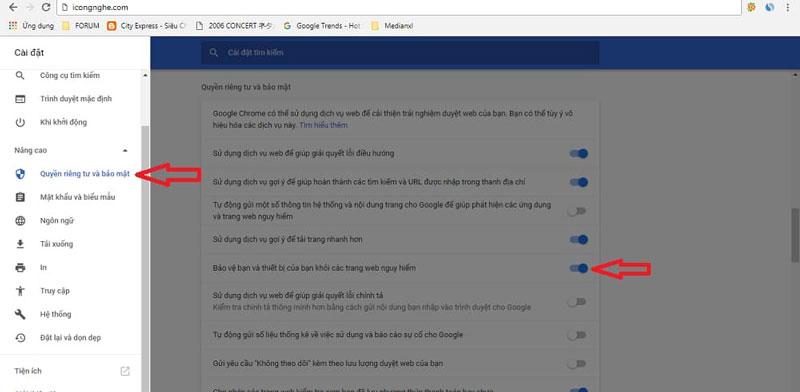 Cách tắt tính năng chặn file của google chrome