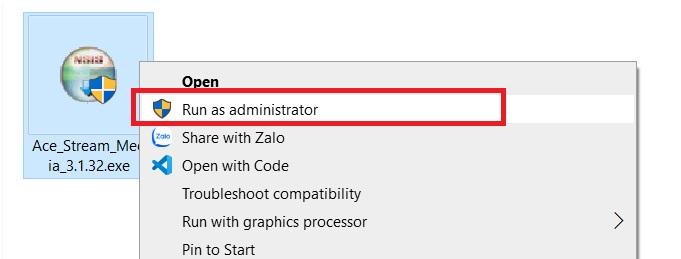 Chạy file .exe vừa tải về máy tính