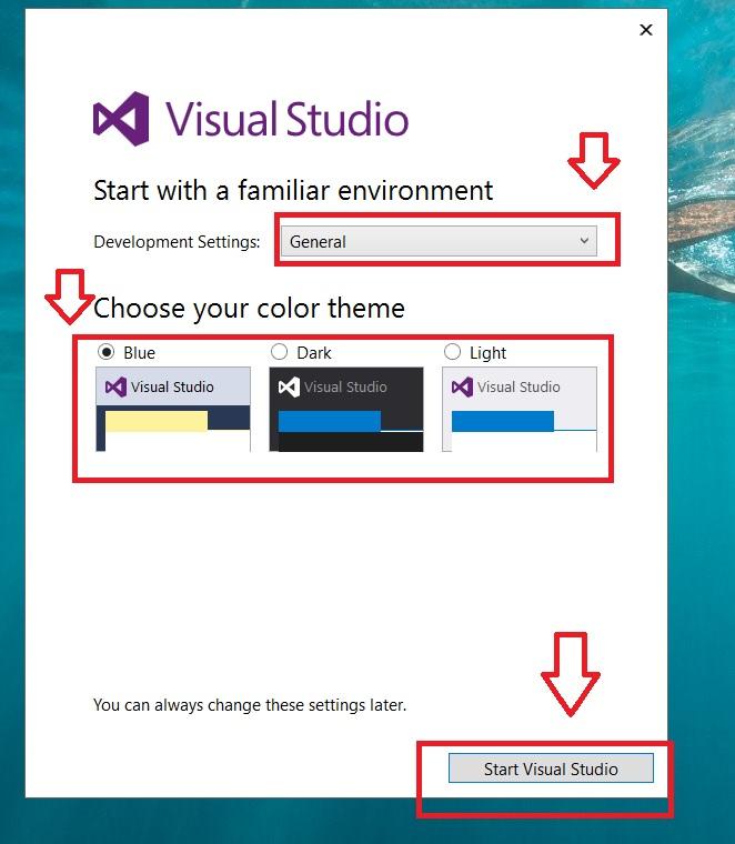 Chọn màu giao diện và nhấn Start Visual Studio