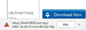 File nguy hiểm bị google chrome chặn