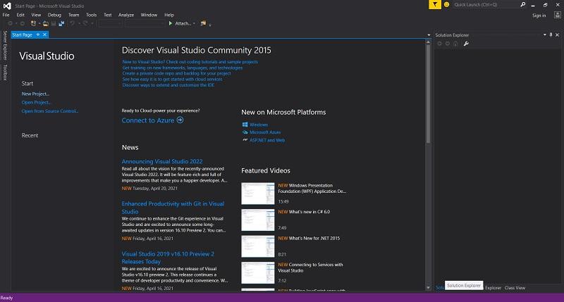 Màn hình chính phần mềm Visual Studio 2015