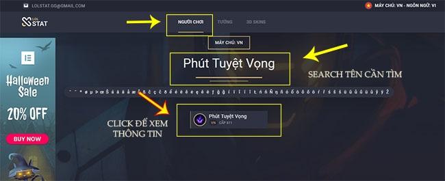 Tra cứu thông tin người chơi