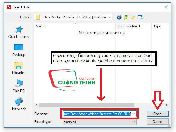 Copy đường dẫn dưới đây vào File name
