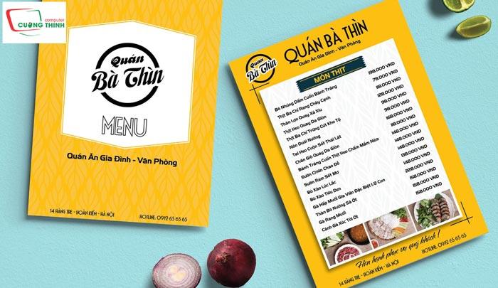 In menu thực đơn nhà hàng
