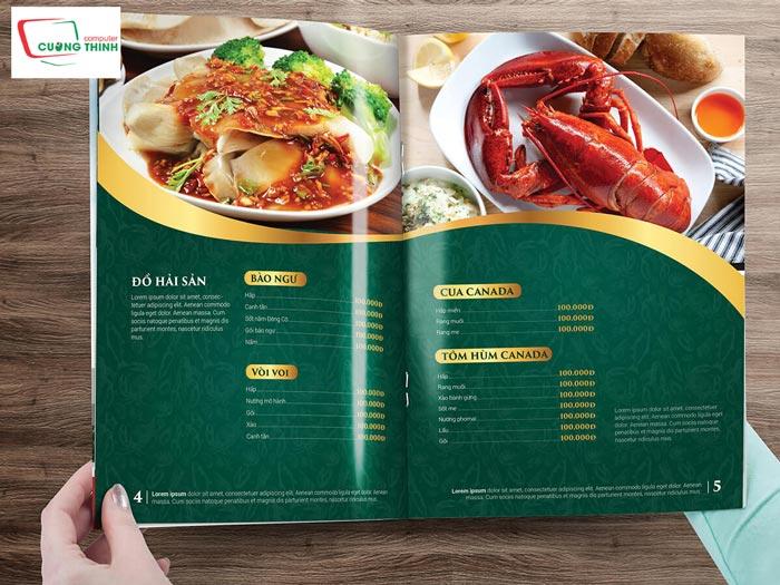 Một số gợi ý về nội dung khi in menu nhà hàng