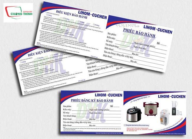 Phiếu bảo hành dành cho các sản phẩm gia dụng, đồ điện