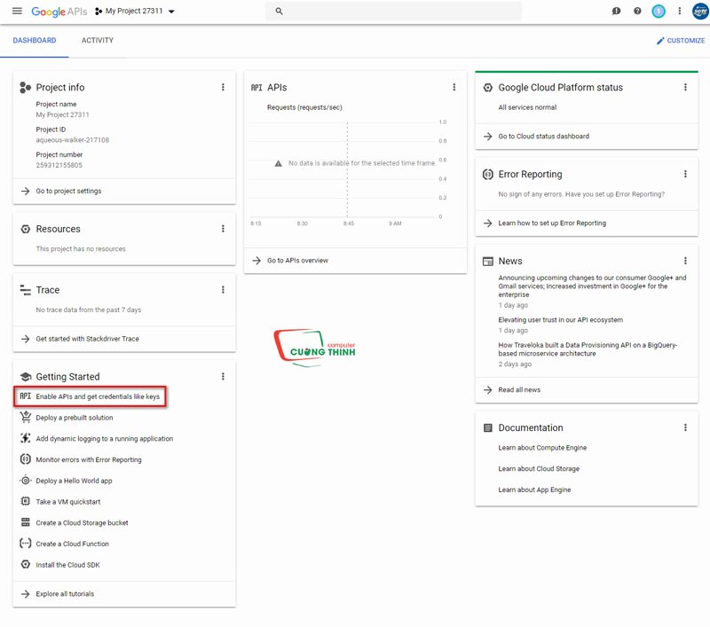 Enable APIs and get credentails like key