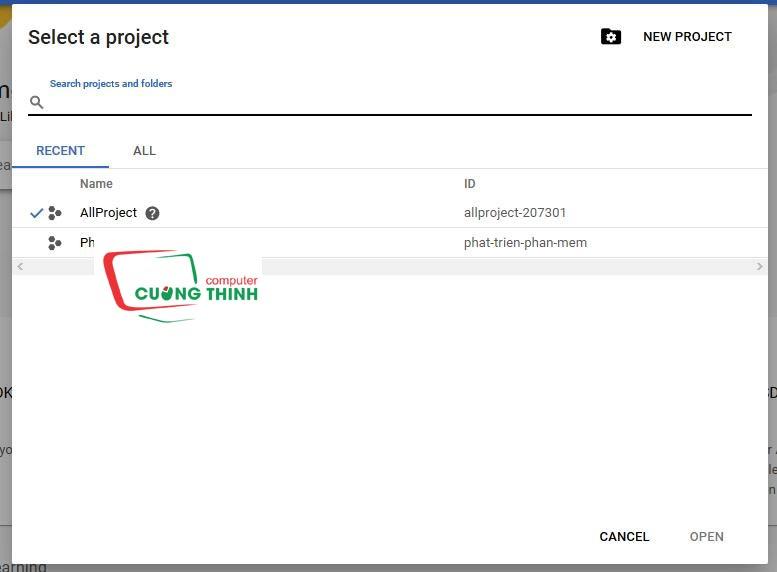 Tạo project trên Google Console