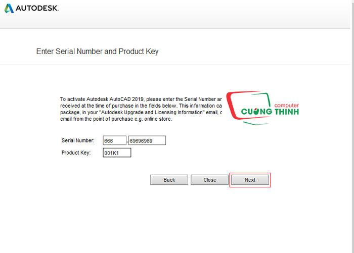Nhập số Serial Number và Product key